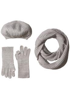 Calvin Klein Women's 3 Piece Rib Knit Scarf Set Accessory