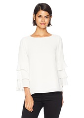 Calvin Klein Women's 3 Tier Sleeve Textured Blouse  S