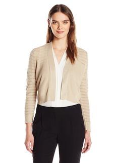 Calvin Klein Women's 3/4 Lurex Shrug With Stripe Sleeve and Yoke  S