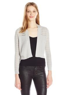 Calvin Klein Women's 3/4 Lurex Shrug with Stripe Sleeve and Yoke WW/Silver M