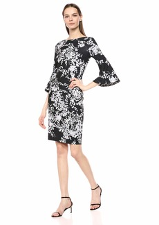Calvin Klein Women's 3/4 Peplum Sleeve Sheath Dress
