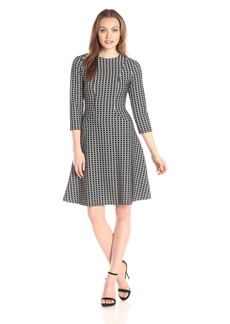 Calvin Klein Women's 3/4 Sleeeve Fit and Flare Dress
