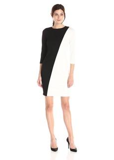 Calvin Klein Women's 3/4 Sleeve Color Block Dress