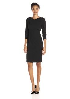 Calvin Klein Women's 3/4 Sleeve Draped Front Sheath Dress