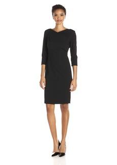 Calvin Klein Women's 3/4 Sleeve Draped Front Sheath Dress