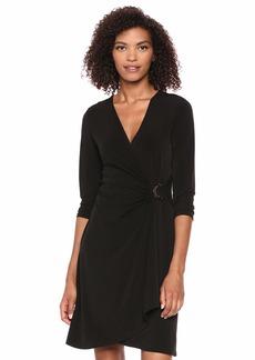 Calvin Klein Women's 3/4 Sleeve Faux WRAP Dress with Hardware