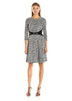 Calvin Klein Women's 3/4 Sleeve Fit and Flare Dress with Belt at Waist