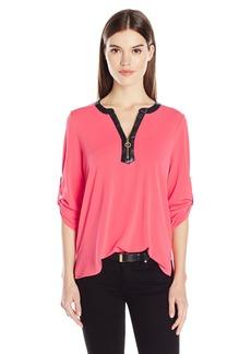 Calvin Klein Women's 3/4 Sleeve Half Zip Top  XS