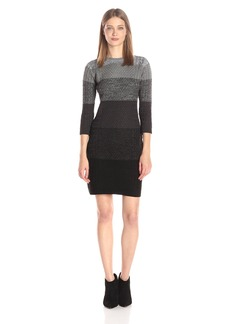 Calvin Klein Women's 3/4 Sleeve Heathered Cable Sweater Dress  L