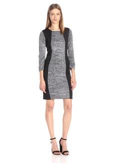 Calvin Klein Women's 3.4 Sleeve Heathered Sweater With Scuba Insert  S