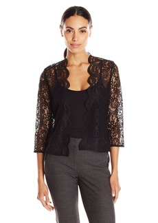 Calvin Klein Women's 3/4 Sleeve Lace Shrug black L