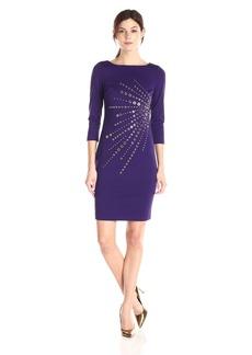 Calvin Klein Women's 3/4 Sleeve Ponte Dress with Heat Set Starburst Trim