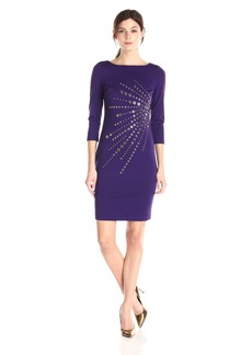 Calvin Klein Women's 3/4 Sleeve Ponte Dress with Heat Set Starburst Trim