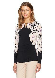 Calvin Klein Women's 3/4 Sleeve Print Wrap Top with Hardware  S