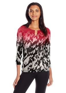 Calvin Klein Women's 3/4 Sleeve Printed Top with Hardware  L