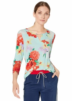 Calvin Klein Women's 3/4 Sleeve Printed Top with Pearl Detail