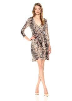 Calvin Klein Women's 3/4 Sleeve Printed Wrap Dress  XS