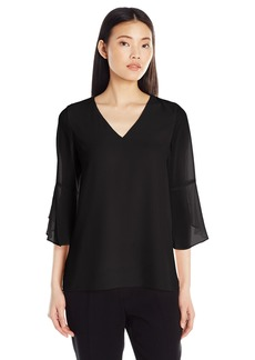 Calvin Klein Women's 3/4 Sleeve Ruffle Blouse  XS
