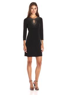 Calvin Klein Women's 3/4 Sleeve Sheath Dress with Hot Fix Deatil