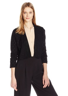 Calvin Klein Women's 3/4 Sleeve Shrug with All Over Heat Set Trim  XL