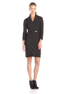 Calvin Klein Women's 3/4 Sleeve Side Buckle Detail Sweater Dress