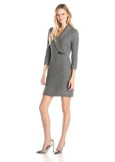 Calvin Klein Women's 3/4 Sleeve Side Buckle Sweater Dress
