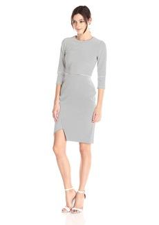 Calvin Klein Women's 3/4 Sleeve Stripe Dress with Uneven Hem