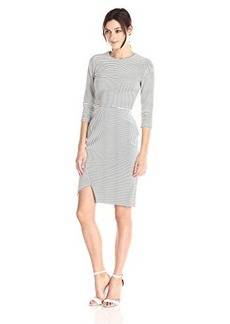 Calvin Klein Women's 3/4 Sleeve Stripe Dress with Uneven Hem