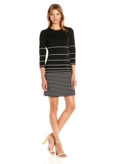 Calvin Klein Women's 3/4 Sleeve Stripe Shift Dress