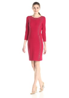 Calvin Klein Women's 3/4 Sleeve Sweater Dress with Embellished Detail