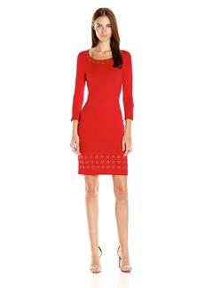 Calvin Klein Women's 3/4 Sleeve Sweater Dress with Grommet Detail  L
