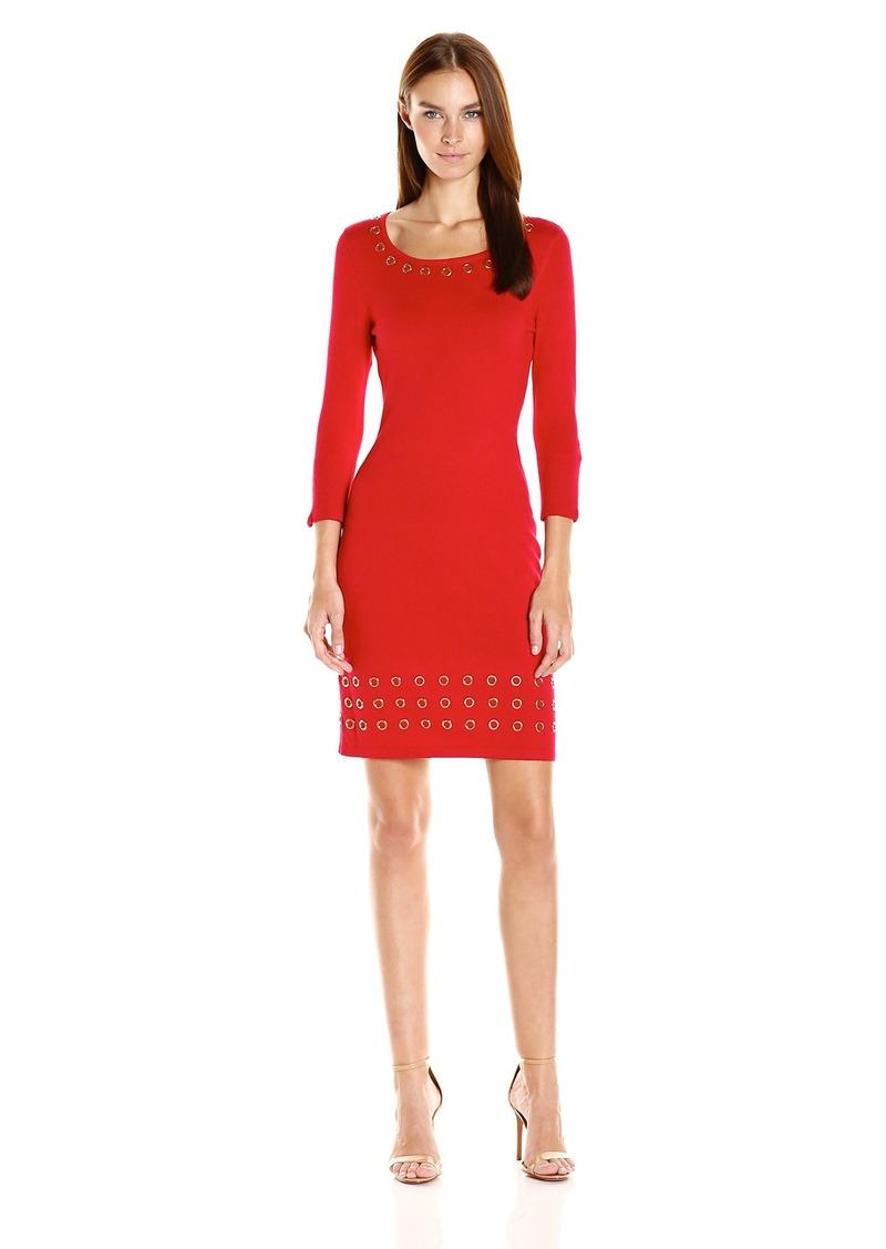 Calvin Klein Women's 3/4 Sleeve Sweater Dress with Grommet Detail  M