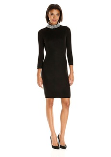 Calvin Klein Women's 3/4 Sleeve Sweater Dress with Pearl Beading  M