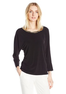 Calvin Klein Women's 3/4 Sleeve Top W/ Chain  S