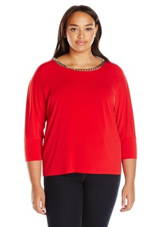 Calvin Klein Women's 3/4 Sleeve Top W/Chain  L