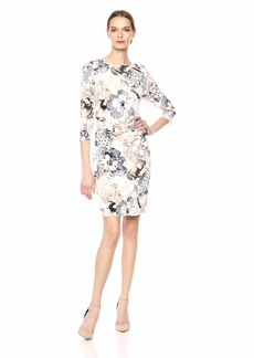 Calvin Klein Women's 3/4 Sleeve with Ruch Shoulder and BAR tin Multi M