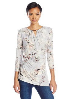 Calvin Klein Women's 3/4 Sleeve Wrap Top with Keyhole Tin Multi CKSP S