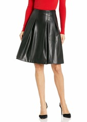 Calvin Klein Women's A-Line Leather Skirt