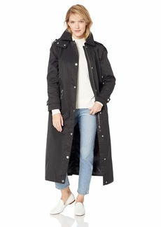 Calvin Klein Women's A-Lined Maxi Length Cotton rain Coat with Hood  XL