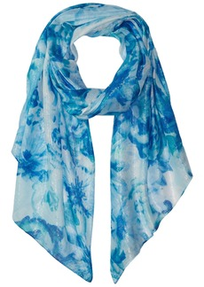 Calvin Klein Women's Abstract Floral Liquid Lurex Scarf Accessory -sea glass one size