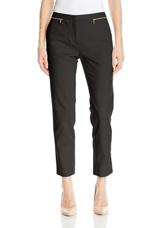 Calvin Klein Women's Ankle Length Slim Fit Pant with Zipper Pockets