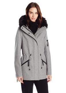 Calvin Klein Women's Anorak Wool Faux Fur Trimmed Coat  L