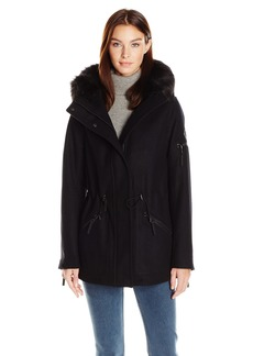 Calvin Klein Women's Anorak Wool Faux Fur Trimmed Coat  S
