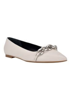 Calvin Klein Women's Arla Chunky Chain Pointy Toe Dress Flats Women's Shoes