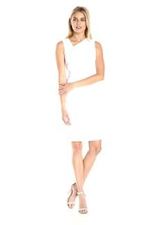 Calvin Klein Women's Assymetric Neck Cotton Sheath Dress