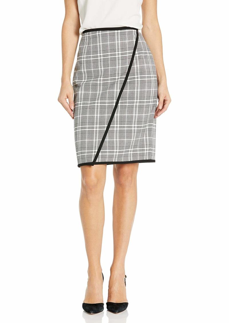 Calvin Klein Women's Asymmetric Piped Plaid Skirt