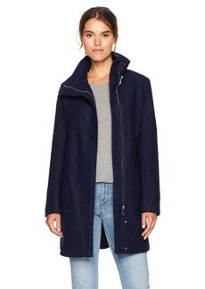 Calvin Klein Women's Asymmetrical Boucle Wool Coat  S
