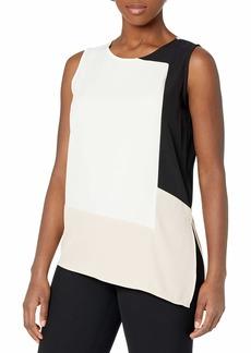 Calvin Klein Women's Asymmetrical Colorblock Blouse