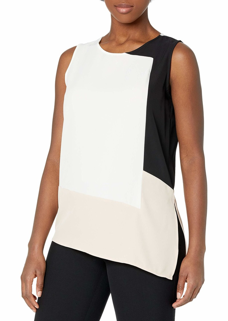 Calvin Klein Women's Asymmetrical Colorblock Blouse