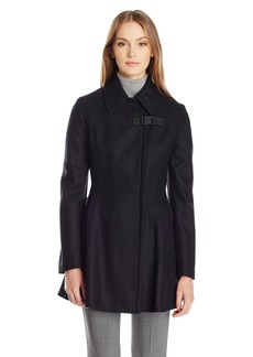 Calvin Klein Women's Asymmetrical Jacket W/Zip Closure and Zipper Pocket Wool and Waist Detail  L